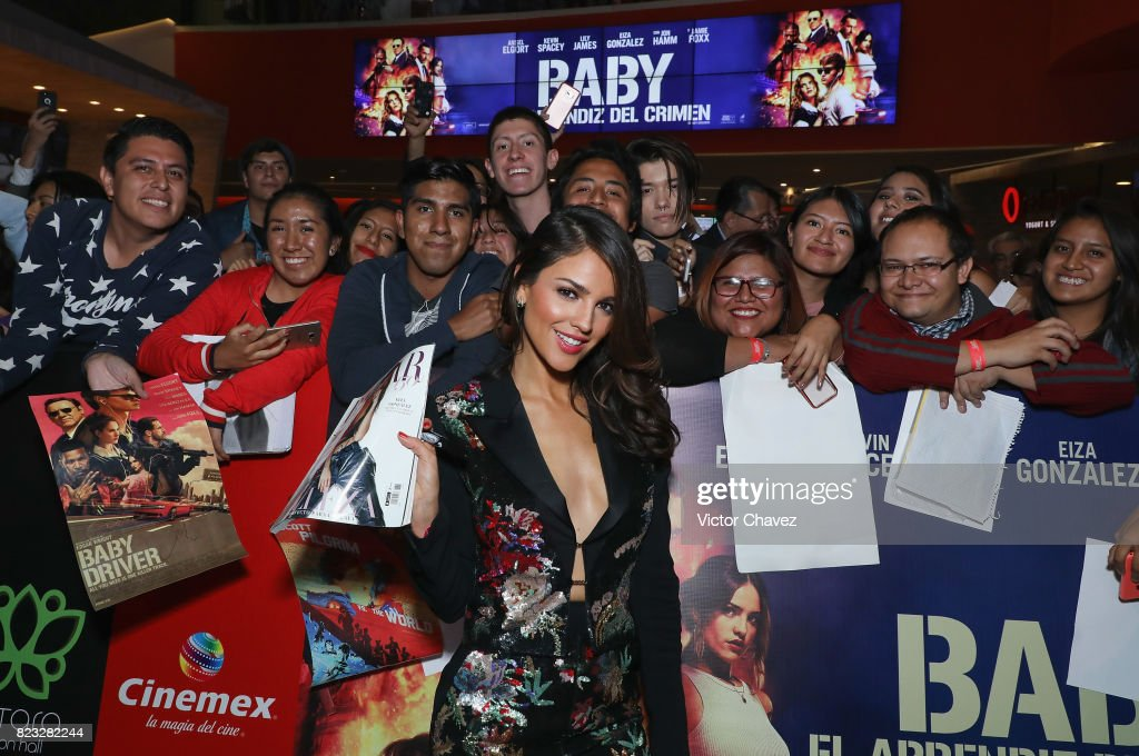 Actress Eiza Gonzalez signs autographs and takes selfies with fans during the 'Baby Driver' Mexico City premier at Cinemex Antara Polanco on July 26, 2017 in Mexico City, Mexico.