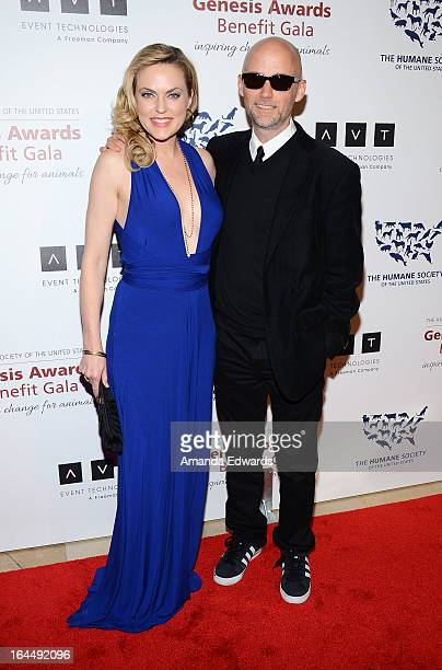 Actress Elaine Hendrix and musician Moby arrive at The Humane Society's 2013 Genesis Awards Benefit Gala at The Beverly Hilton Hotel on March 23 2013...