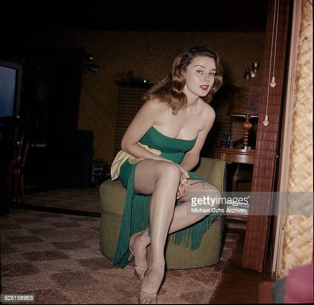 Actress Elaine Stewart poses at home in Los AngelesCA