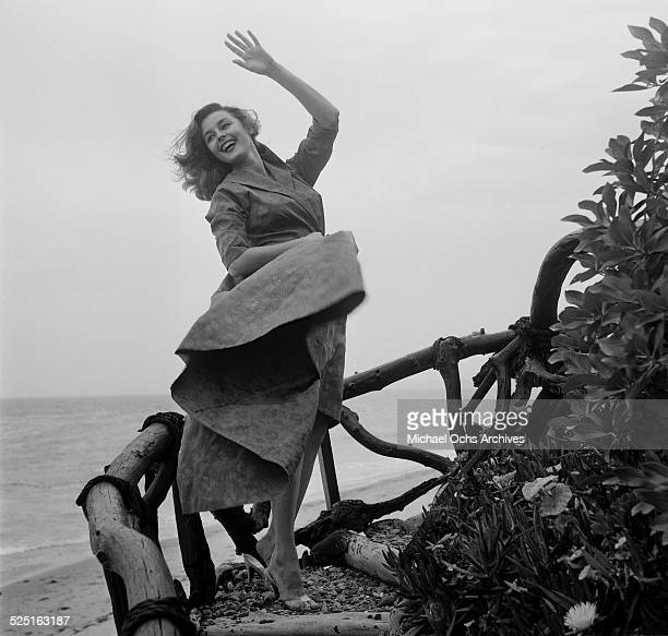 Actress Elaine Stewart poses at the beach in Los AngelesCA