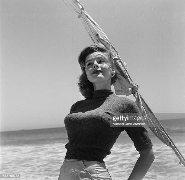 Actress Elaine Stewart poses during the Thalians Beach Ball in MalibuCalifornia