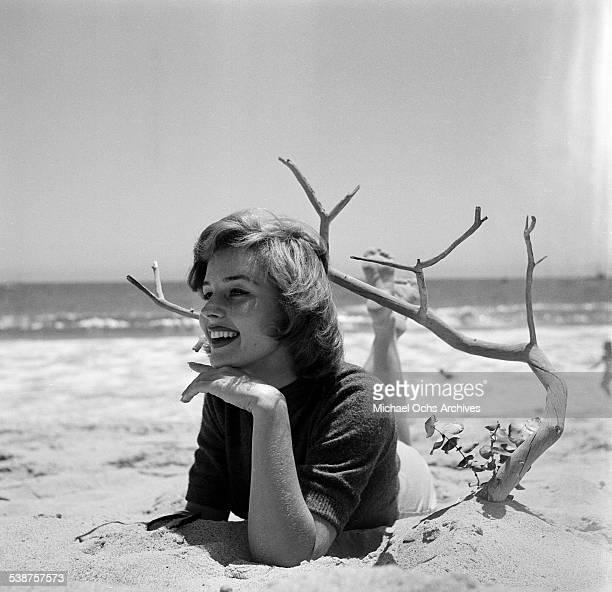 Actress Elaine Stewart poses on the beach during the Thalians Beach Ball in MalibuCalifornia