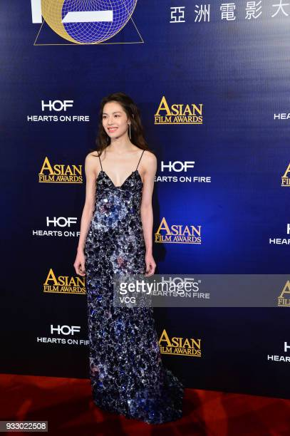 Actress Elane Zhong poses on the red carpet of the 12th Asian Film Awards at the Venetian Hotel on March 17 2018 in Macao China