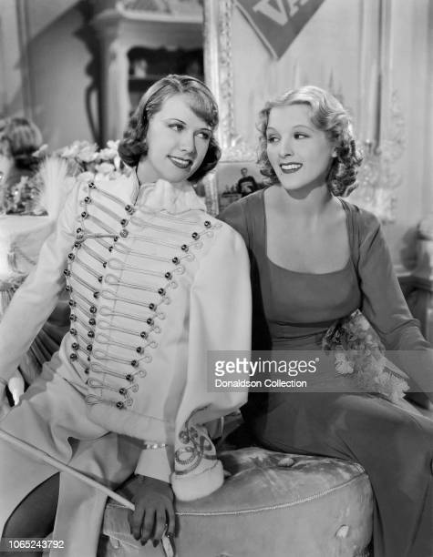 Actress Eleanor Powell and Ilona Massey in a scene from the movie Rosalie