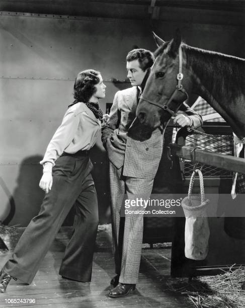 Actress Eleanor Powell and Robert Taylor in a scene from the movie Broadway Melody of 1938