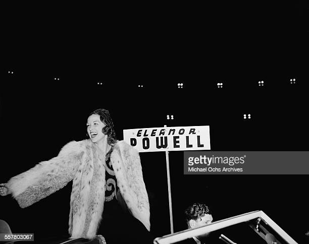 Actress Eleanor Powell greets fans during the Hollywood Chirstmas Parade in Los Angeles California