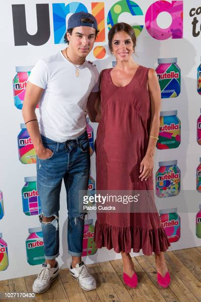 Actress Elena Furiase and actor Oscar Casas present Nutella at Luchana Theater in Madrid on September 5, 2018 in Madrid, Spain.