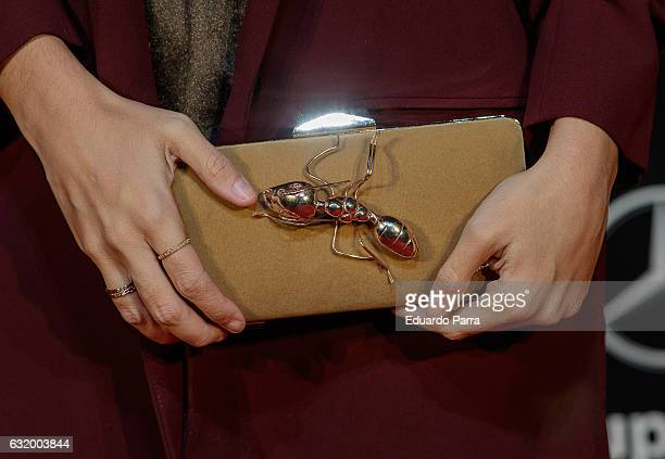 Actress Elena Furiase bag detail attends 'Los del Tunel' premiere at Capitol cinema on January 18 2017 in Madrid Spain