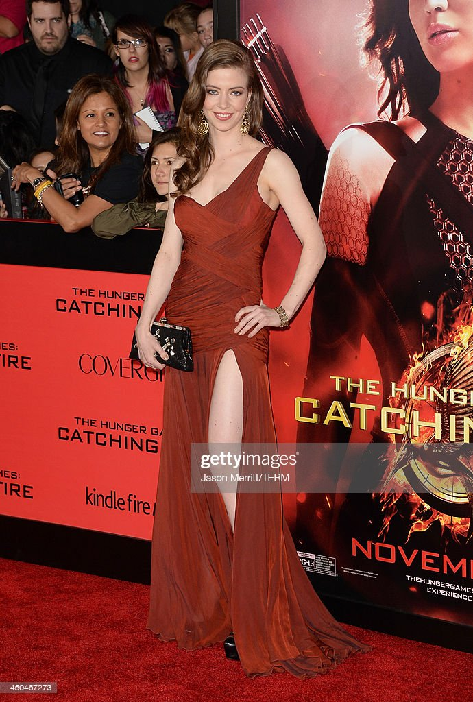 Actress Elena Sanchez arrives at the premiere of Lionsgate's 'The Hunger Games: Catching Fire' at Nokia Theatre L.A. Live on November 18, 2013 in Los Angeles, California.