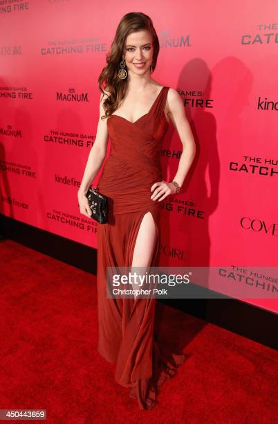 Actress Elena Sanchez attends premiere of Lionsgate's The Hunger Games Catching Fire Red Carpet at Nokia Theatre LA Live on November 18 2013 in Los...