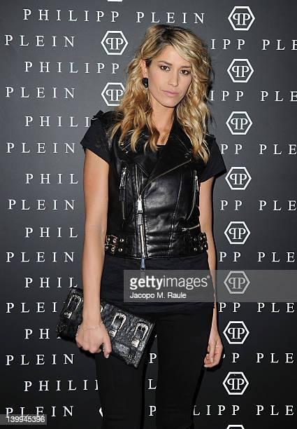 Actress Elena Santarelli attends Philipp Plein fashion show as part of Milan Womenswear Fashion Week on February 25 2012 in Milan Italy