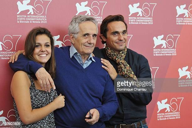 Actress Elenea Belocchio director Marco Bellocchio and actor Piergiorgio Bellocchio attend the Sorelle Mai photocall at the Palazzo del Casino during...
