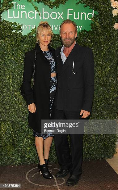 Actress Eliot Sumner and recording artist Sting attend the 10th Anniversary Lunchbox Fund Benefit Event at Gabriel Kreuther on October 26 2015 in New...