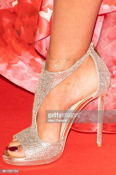 Actress Elisa Bachir Bey shoe detail attends the Global Gift Gala at Four Seasons Hotel George V on April 25 2018 in Paris France