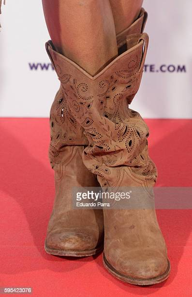 Actress Elisa Matilla shoes detail attends the 'Cuerpo de Elite' premiere at Capitol cinema on August 25 2016 in Madrid Spain