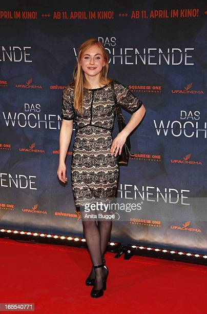 Actress Elisa Schlott attends the 'Das Wochenende' premiere at Kino International on April 4 2013 in Berlin Germany