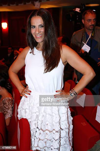 Actress Elisa Tovati attends the Franck Sorbier show as part of Paris Fashion Week Haute Couture Fall/Winter 2015/2016 Held at Theatre Hebertot on...