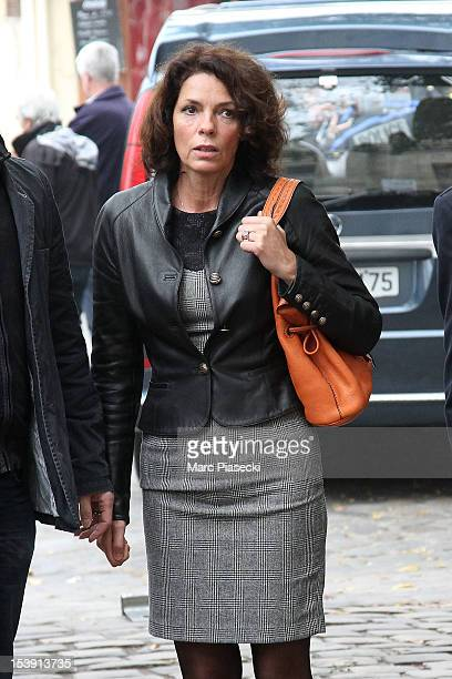Actress Elisabeth Bourgine arrives to attend director Claude Pinoteau's funeral on October 11 2012 in Paris France