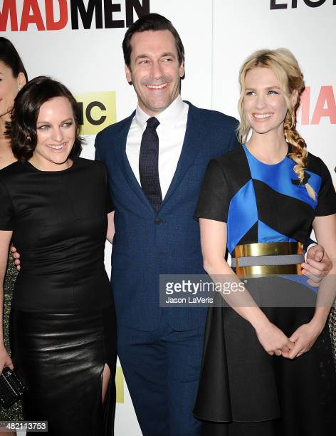 Actress Elisabeth Moss actor Jon Hamm and actress January Jones attend the season 7 premiere of 'Mad Men' at ArcLight Cinemas on April 2 2014 in...