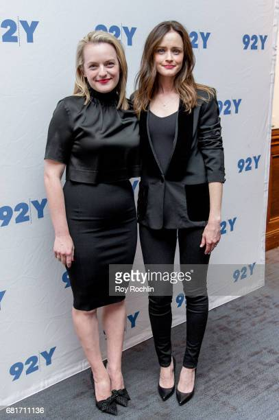 Actress Elisabeth Moss and actress Alexis Bledel attend 92Y Presents Hulu's The Handmaid's Tale at 92nd Street Y on May 10 2017 in New York City