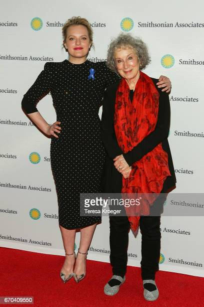 Actress Elisabeth Moss and author Margaret Atwood attend 'The Handmaid's Tale' Washington DC preview at Smithsonian National Museum Of American...