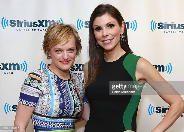 Actress Elisabeth Moss and TV personality Heather Dubrow visit at SiriusXM Studios on May 20 2013 in New York City