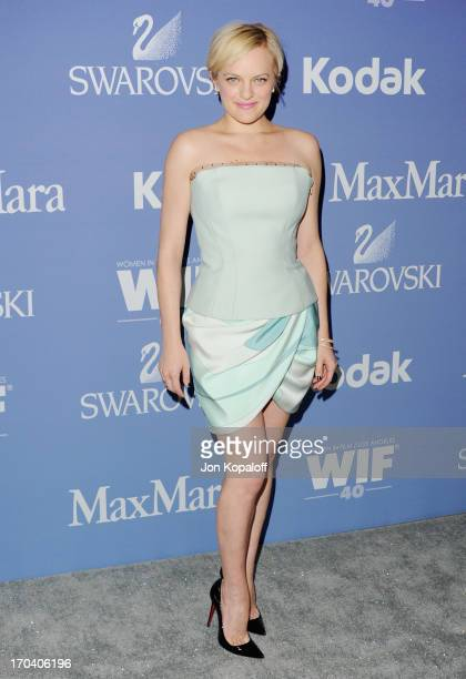 Actress Elisabeth Moss arrives at the 2013 Women In Film's Crystal Lucy Awards at The Beverly Hilton Hotel on June 12 2013 in Beverly Hills California