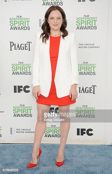 Actress Elisabeth Moss arrives at the 2014 Film Independent Spirit Awards on March 1 2014 in Santa Monica California