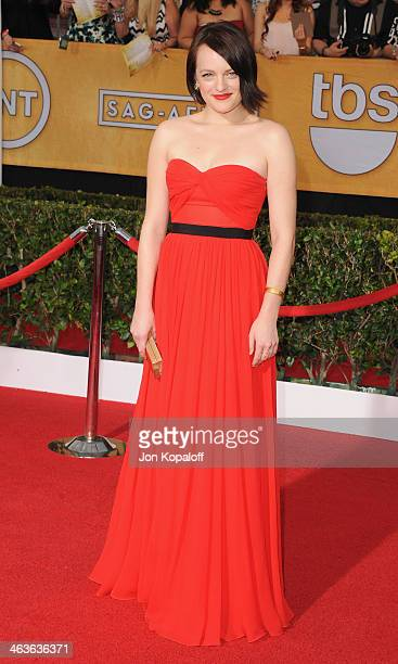 Actress Elisabeth Moss arrives at the 20th Annual Screen Actors Guild Awards at The Shrine Auditorium on January 18 2014 in Los Angeles California