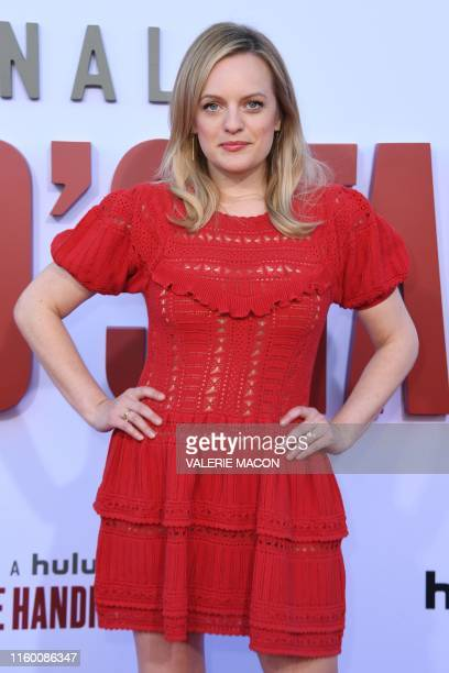 US actress Elisabeth Moss arrives for Hulu's The Handmaid's Tale season 3 finale celebration at the Regency Village theatre in Westwood California on...