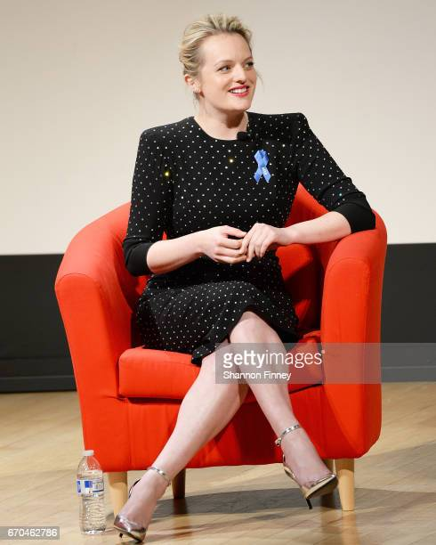 """Actress Elisabeth Moss at the preview of Hulu's """"The Handmaid's Tale"""" at the Smithsonian National Museum Of Natural History on April 19, 2017 in..."""