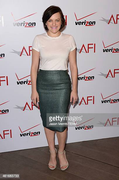 Actress Elisabeth Moss attends the 14th annual AFI Awards Luncheon at the Four Seasons Hotel Beverly Hills on January 10 2014 in Beverly Hills...