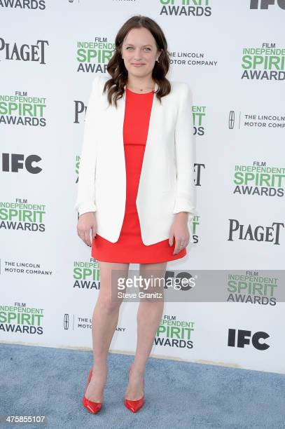 Actress Elisabeth Moss attends the 2014 Film Independent Spirit Awards at Santa Monica Beach on March 1 2014 in Santa Monica California
