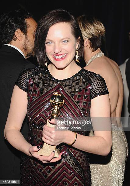 Actress Elisabeth Moss attends the 2014 InStyle And Warner Bros. 71st Annual Golden Globe Awards Post-Party at The Beverly Hilton Hotel on January...