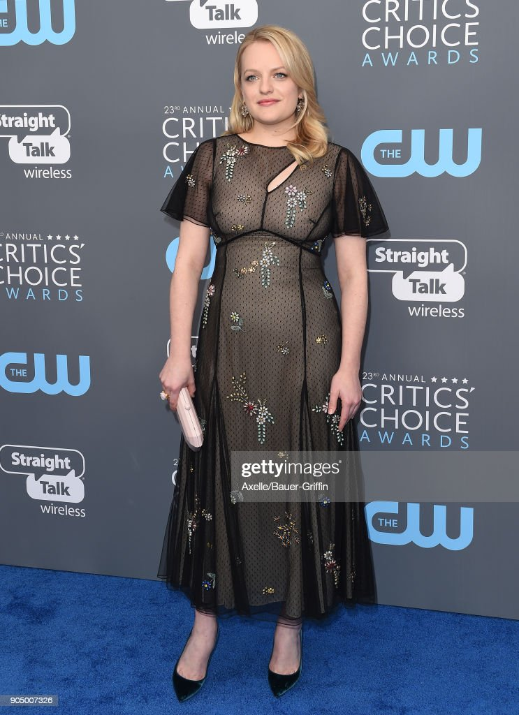 Actress Elisabeth Moss attends the 23rd Annual Critics' Choice Awards at Barker Hangar on January 11, 2018 in Santa Monica, California.