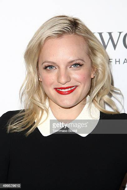 Actress Elisabeth Moss attends the IWC Schaffhausen celebrates Rodeo Drive grand opening held at IWC Shaffhausen on December 1 2015 in Beverly Hills...