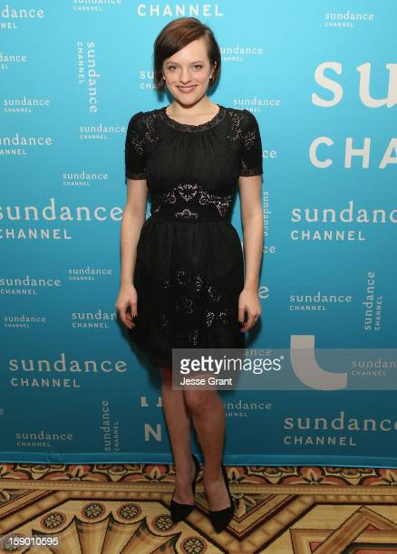 Actress Elisabeth Moss attends the Sundance Channel 2013 Winter TCA Panel at The Langham Huntington Hotel and Spa on January 5 2013 in Pasadena...