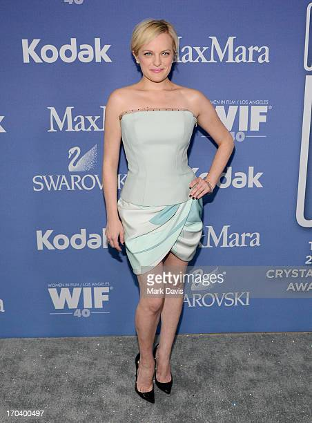 Actress Elisabeth Moss attends Women In Film's 2013 Crystal Lucy Awards at The Beverly Hilton Hotel on June 12 2013 in Beverly Hills California