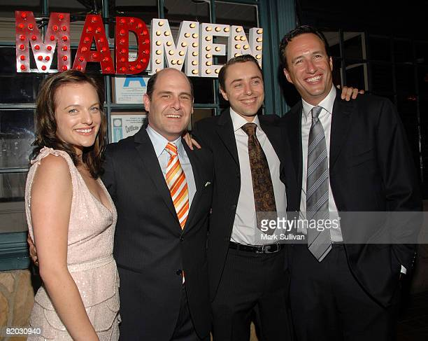 Actress Elisabeth Moss creator/producer Matthew Weiner actor Vincent Kartheiser and AMC general manager Charlie Collier attend the Second Season Of...