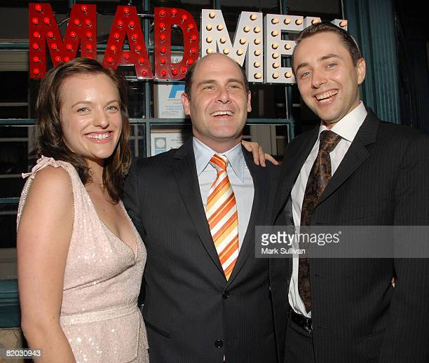 Actress Elisabeth Moss creator/producer Matthew Weiner and actor Vincent Kartheiser attend the Second Season Of 'Mad Men' premiere after party held...