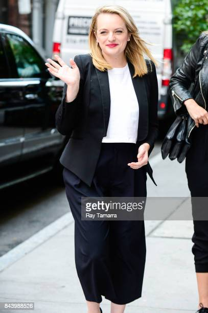 Actress Elisabeth Moss enters the 'AOL Build' taping at the AOL Studios on September 07 2017 in New York City