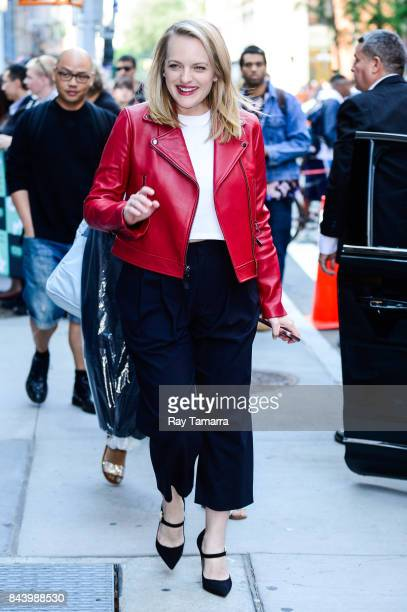 Actress Elisabeth Moss leaves the 'AOL Build' taping at the AOL Studios on September 07 2017 in New York City