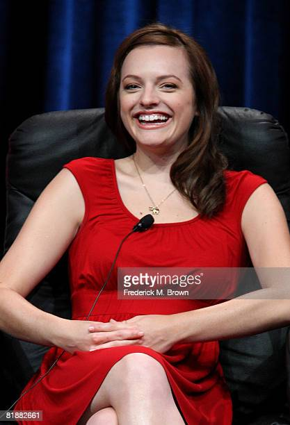 Actress Elisabeth Moss of Mad Men speaks during day two of the AMC Channel 2008 Summer Television Critics Association Press Tour held at the Beverly...