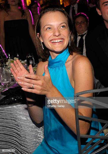 Actress Elisabeth Moss poses during the 39th annual Church of Scientology anniversary gala held at The Church of Scientology Celebrity Centre...