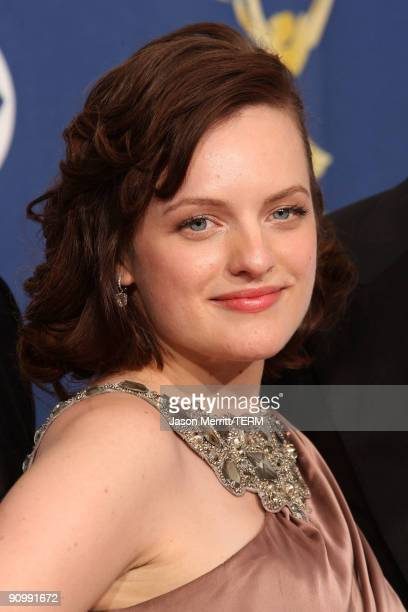 Actress Elisabeth Moss poses in the press room after her show Mad Men won for Outstanding Drama Series at the 61st Primetime Emmy Awards held at the...