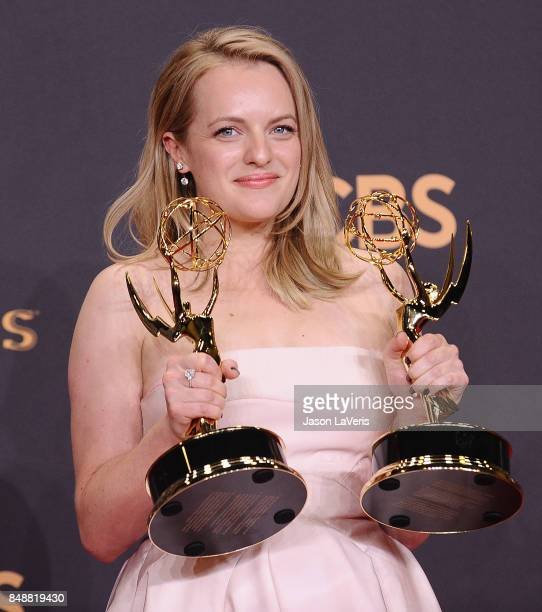 Actress Elisabeth Moss poses in the press room at the 69th annual Primetime Emmy Awards at Microsoft Theater on September 17 2017 in Los Angeles...