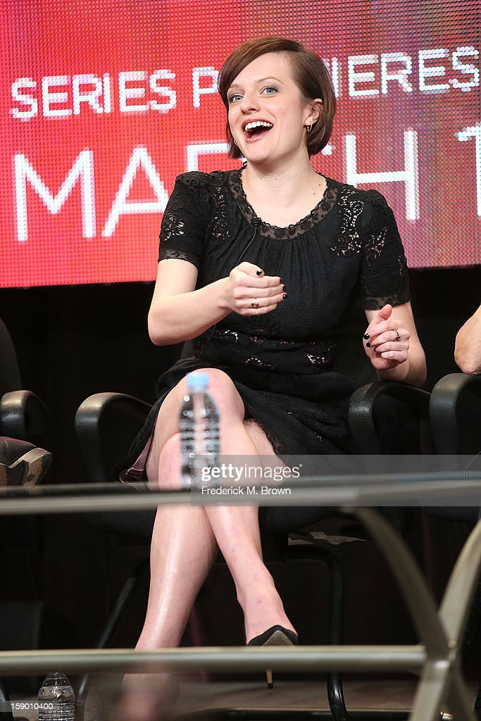 Actress Elisabeth Moss speaks onstage at the 'Top of the Lake' panel discussion during the Sundance Channel portion of the 2013 Winter TCA Tour- Day 2 at Langham Hotel on January 5, 2013 in Pasadena, California.