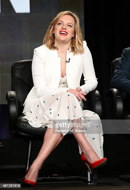 Actress Elisabeth Mosser speaks onstage during the 'Mad Men' panel at the AMC portion of the 2015 Winter Television Critics Association press tour at...