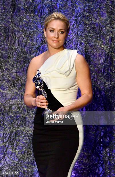Actress Elisabeth Rohm presents onstage during the 16th Costume Designers Guild Awards with presenting sponsor Lacoste at The Beverly Hilton Hotel on...