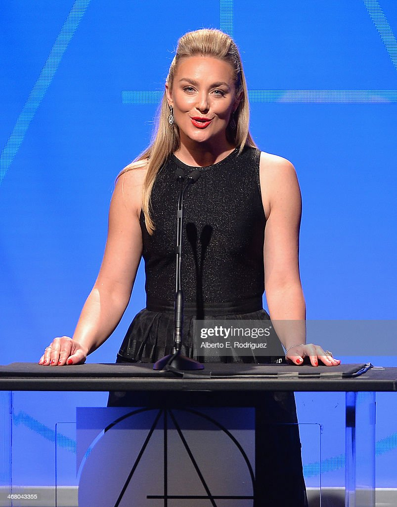 Actress Elizabeth Rohm speaks on stage atthe 18th Annual Art Directors Guild Exellence In Production Design Awards at The Beverly Hilton Hotel on February 8, 2014 in Beverly Hills, California.